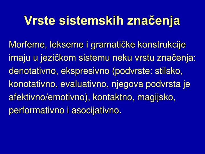Vrste sistemskih značenja
