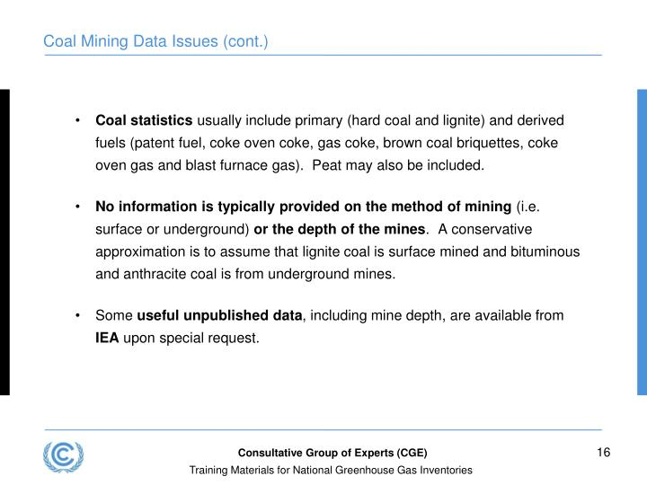 Coal Mining Data Issues (cont.)