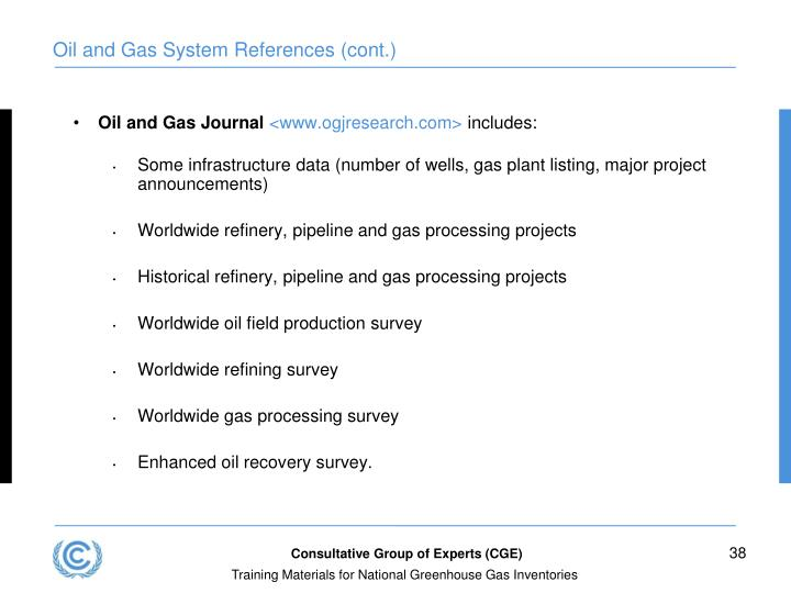 Oil and Gas System References (cont.)