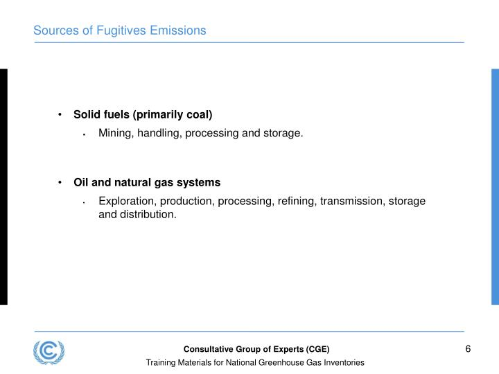 Sources of Fugitives Emissions
