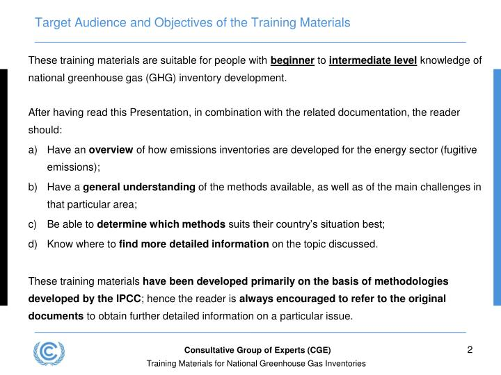Target audience and objectives of the training materials