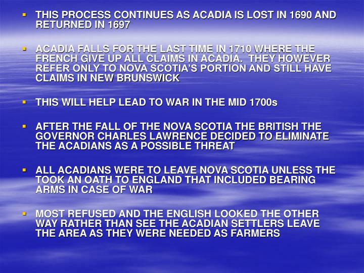 THIS PROCESS CONTINUES AS ACADIA IS LOST IN 1690 AND RETURNED IN 1697