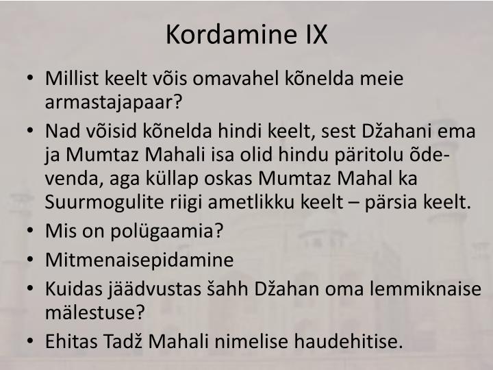 Kordamine IX