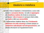 idealismo e metafisica