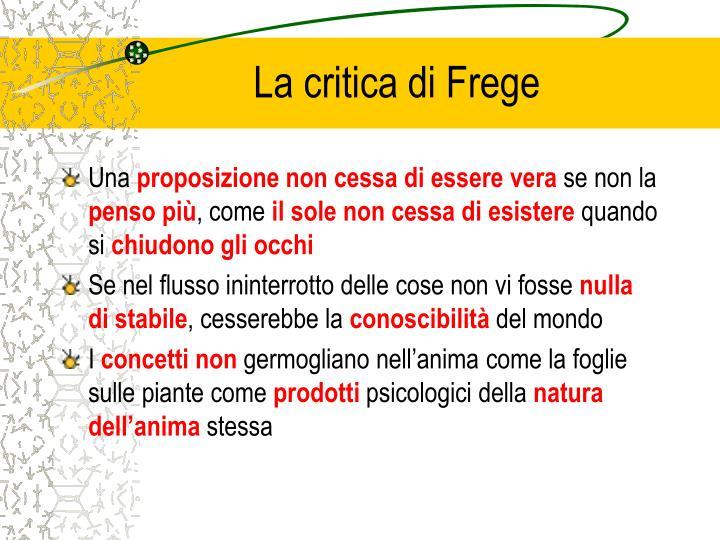 La critica di Frege