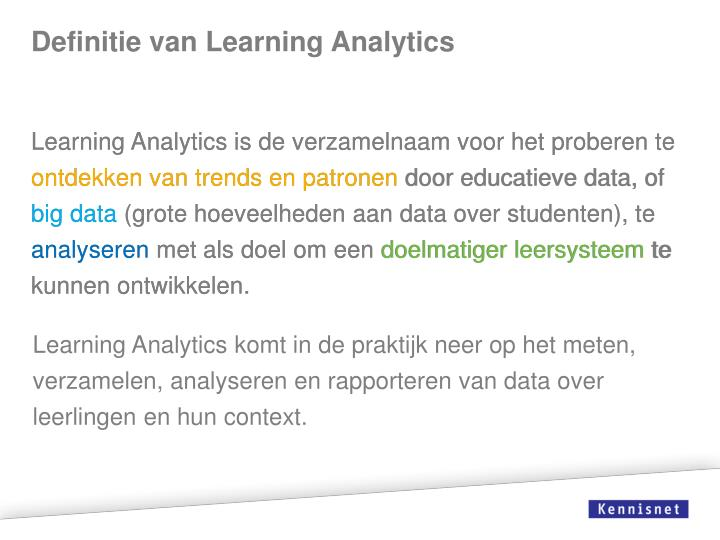 Definitie van Learning Analytics
