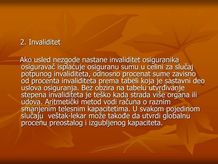 2. Invaliditet