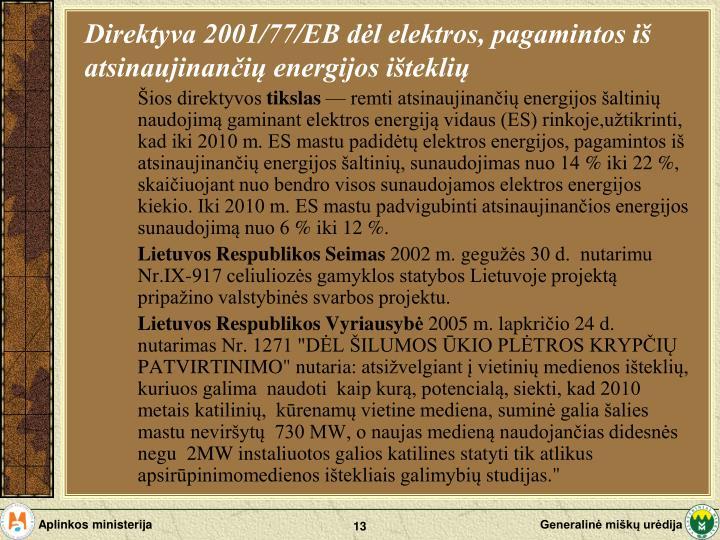 Direktyva 2001/77/EB dėl elektros, pagamintos iš atsinaujinančių energijos išteklių