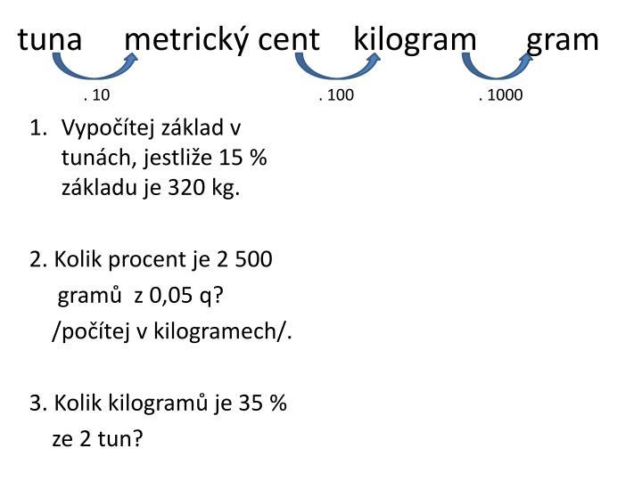 tuna     metrický cent    kilogram      gram