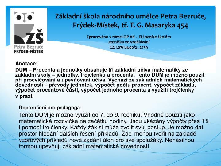 Základní škola národního umělce Petra Bezruče,