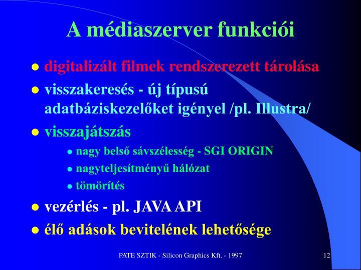 A médiaszerver funkciói