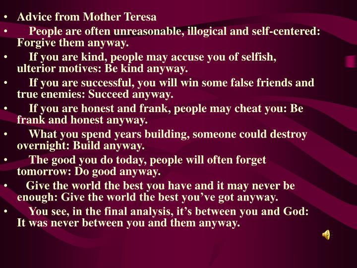 Advice from Mother Teresa