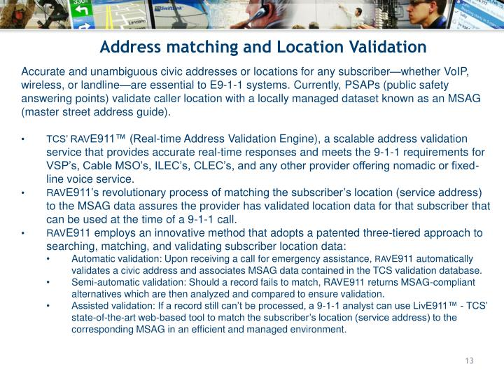Address matching and Location Validation