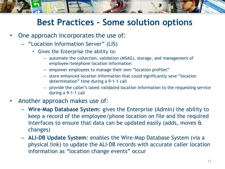 Best Practices – Some solution options