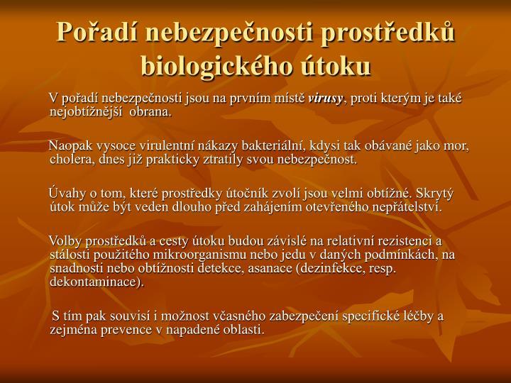 Pořadí nebezpečnosti prostředků biologického útoku