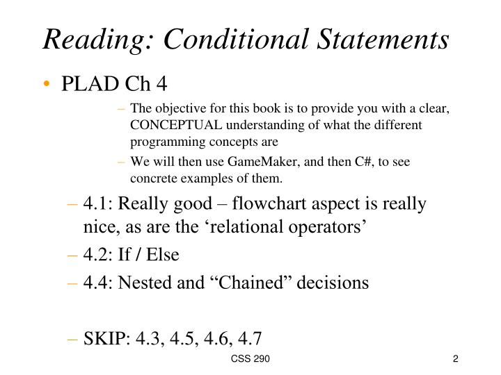 Reading: Conditional Statements