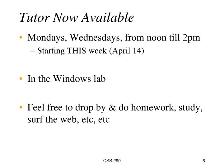 Tutor Now Available