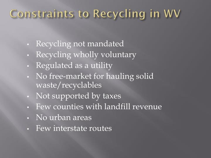 Constraints to Recycling in WV