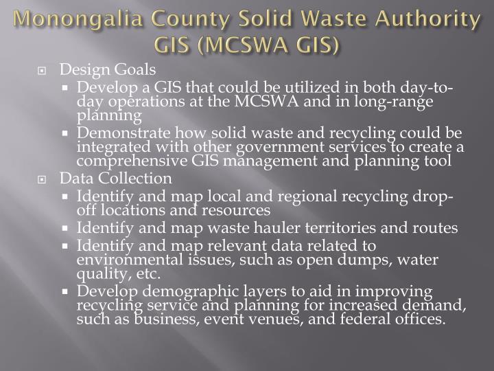 Monongalia County Solid Waste Authority GIS (MCSWA GIS)
