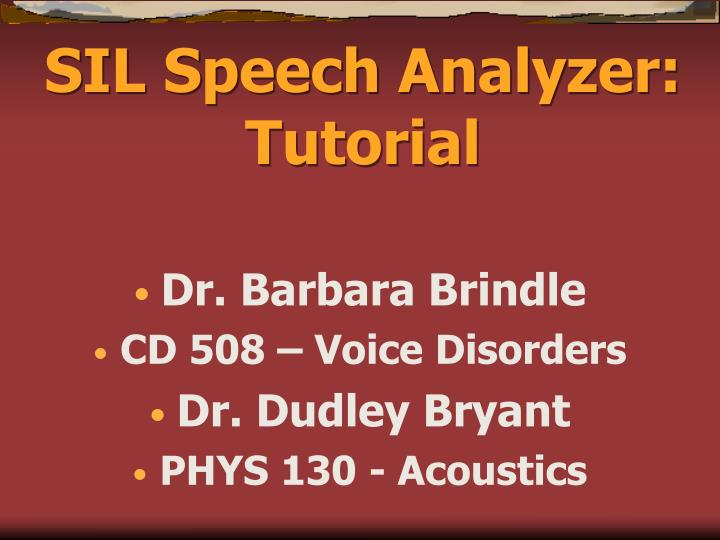 SIL Speech Analyzer: Tutorial