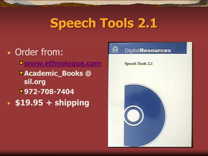 Speech tools 2 1