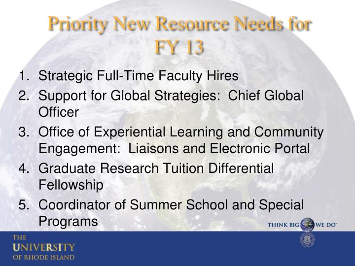 Priority New Resource Needs for