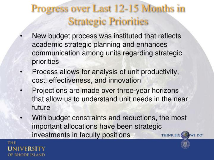 New budget process was instituted that reflects academic strategic planning and enhances communication among units regarding strategic priorities