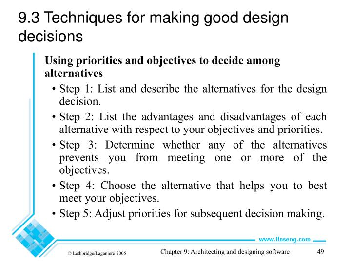 9.3 Techniques for making good design decisions