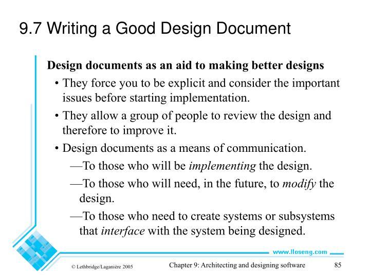 9.7 Writing a Good Design Document