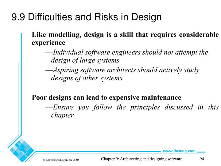 9.9 Difficulties and Risks in Design