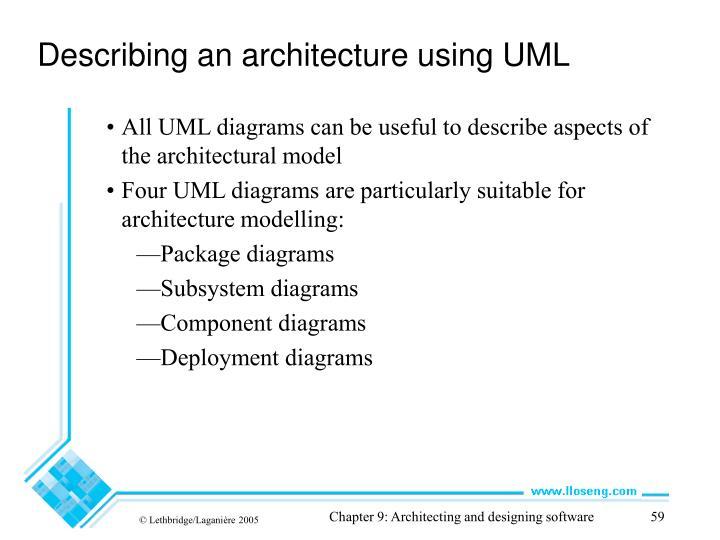 Describing an architecture using UML