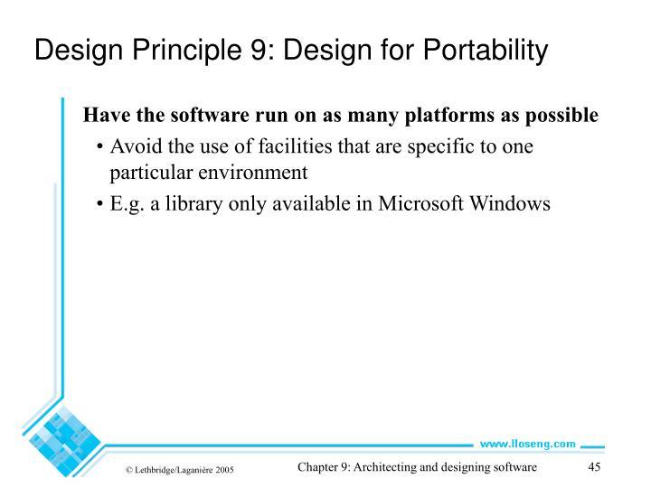 Design Principle 9: Design for Portability