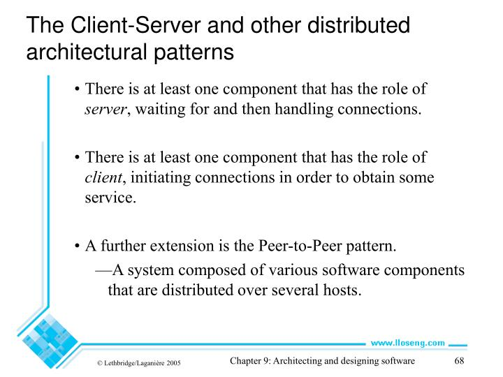 The Client-Server and other distributed architectural patterns