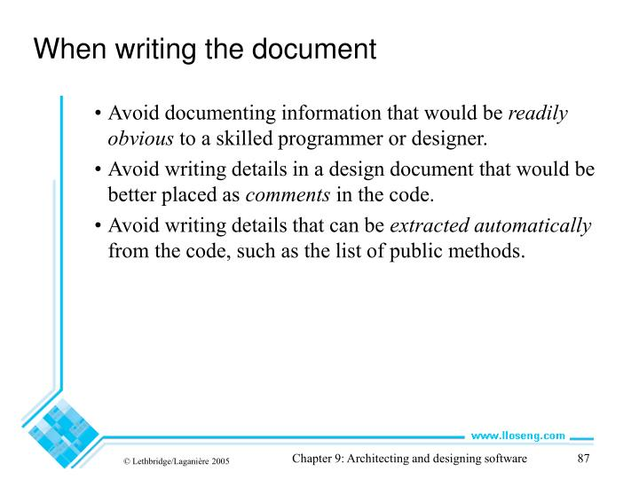 When writing the document