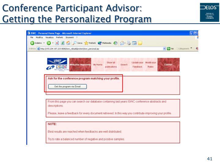 Conference Participant Advisor: