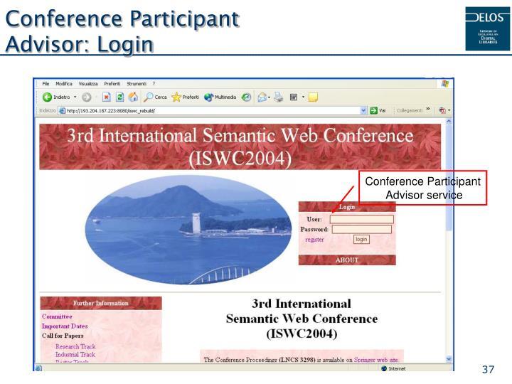 Conference Participant Advisor: Login