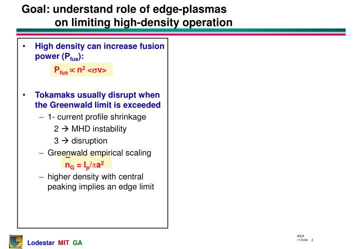 Goal: understand role of edge-plasmas on limiting high-density operation