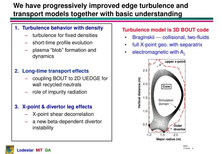 We have progressively improved edge turbulence and transport models together with basic understanding