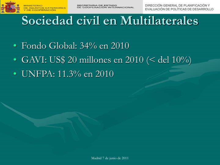 Sociedad civil en Multilaterales