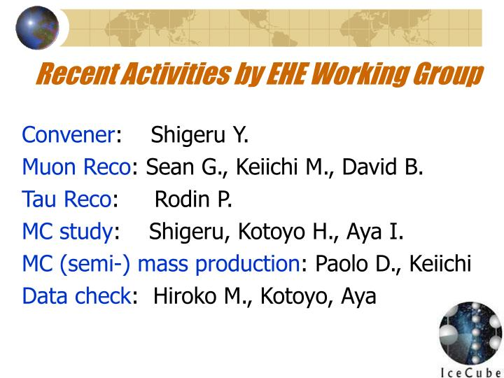 Recent Activities by EHE Working Group