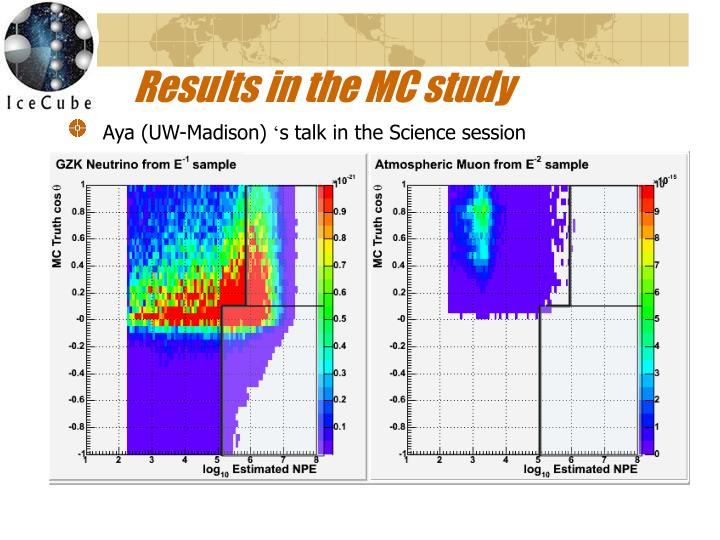 Results in the MC study