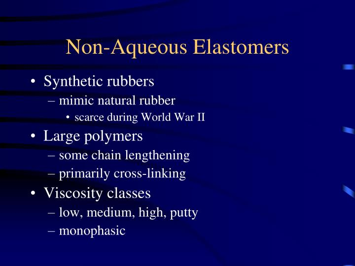 Non-Aqueous Elastomers