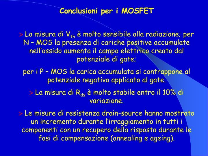 Conclusioni per i MOSFET
