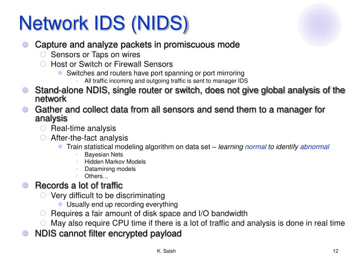 Network IDS (NIDS)