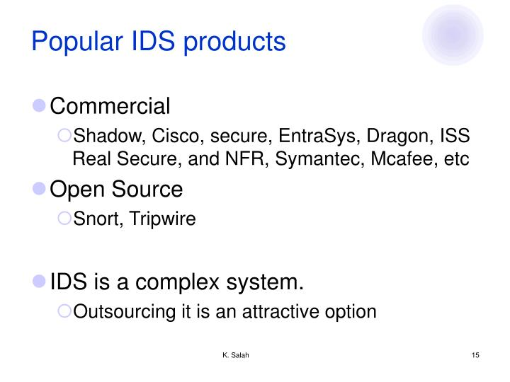 Popular IDS products
