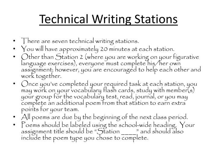 Technical Writing Stations