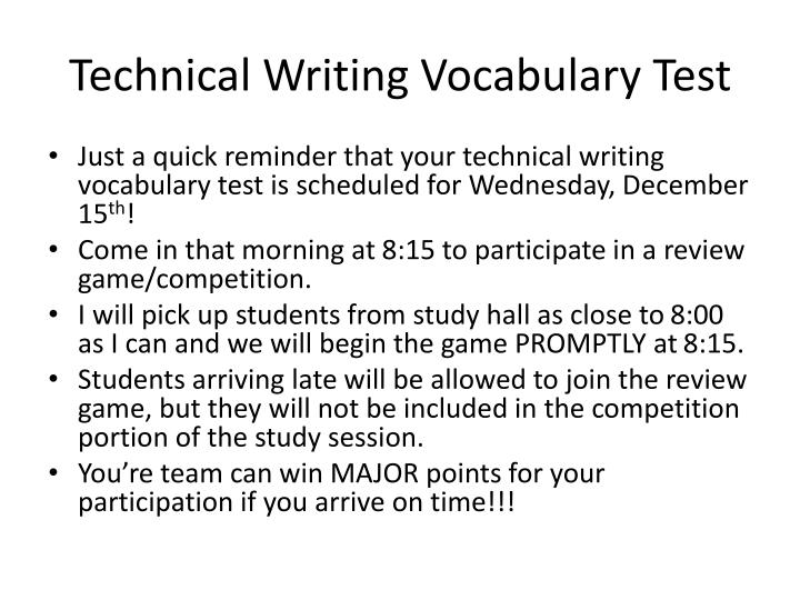 Technical writing vocabulary test