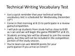 technical writing vocabulary test