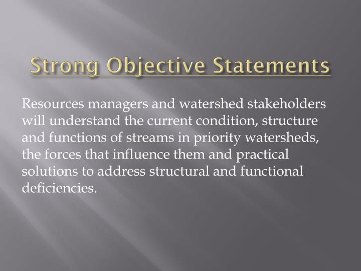 strong objective statements
