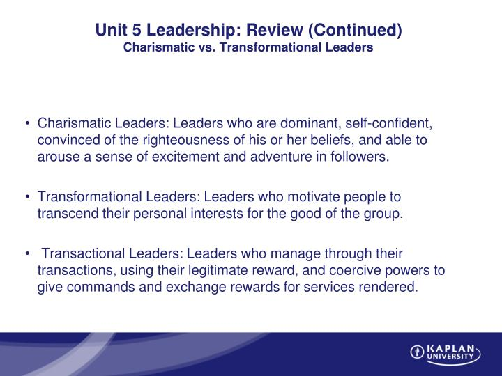 compare and contrast transformational leadership to charismatic leadership